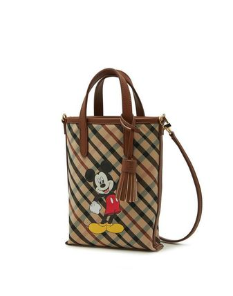 Other Plaid Patterns Unisex Street Style Plain Logo Totes