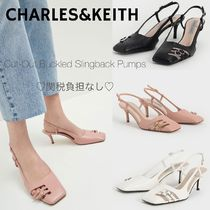 Charles&Keith Square Toe Casual Style Faux Fur Plain Pin Heels Party Style
