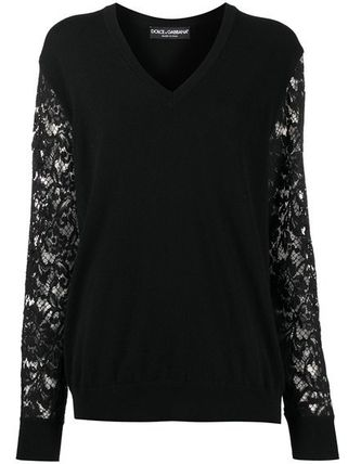 Dolce & Gabbana Flower Patterns Casual Style Wool V-Neck Long Sleeves Lace