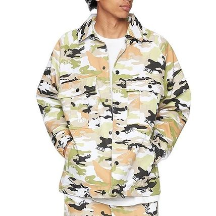 Camouflage Street Style Long Sleeves Cotton Logo Tops
