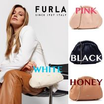 FURLA Casual Style 3WAY Chain Plain Leather Party Style