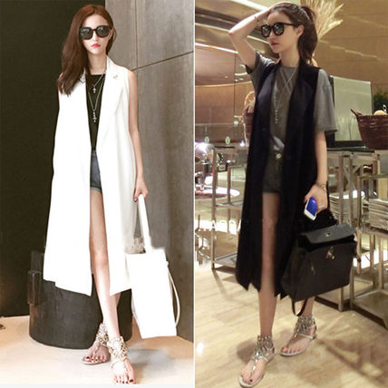 Casual Style Plain Cotton Long Party Style Midi Office Style