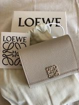 LOEWE Anagram Calfskin Plain Leather Small Wallet Logo Coin Cases