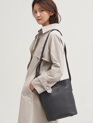 Casual Style Plain Leather Crossbody Formal Style  Satchels