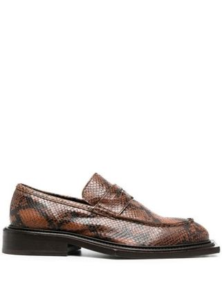 Loafers Unisex Blended Fabrics Chain Leather Python