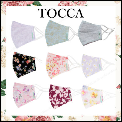 TOCCA Face Masks Flower Patterns Street Style Bridal Icy Color Face Masks