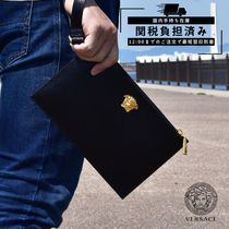 VERSACE Unisex Leather Logo Clutches