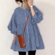 Casual Style Cropped Plain Medium Puff Sleeves