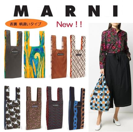 MARNI Other Plaid Patterns Flower Patterns Paisley A4 Leather Logo
