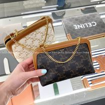 CELINE Triomphe Canvas Clutch With Chain In Triomphe Canvas And Lambskin