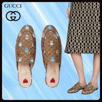 GUCCI Princetown Casual Style Unisex Street Style Collaboration Leather