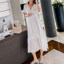 Wrap Dresses Casual Style Maxi A-line Flared Street Style