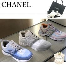 CHANEL Lace-up Elegant Style Logo Low-Top Sneakers