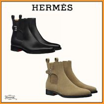 HERMES Suede Street Style Plain Leather Engineer Boots