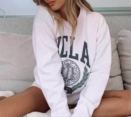 Princess Polly Crew Neck Street Style Long Sleeves Cotton Medium Oversized