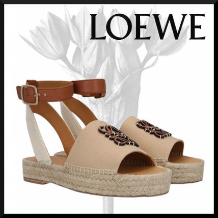 LOEWE Anagram Espadrille In Canvas And Calfskin