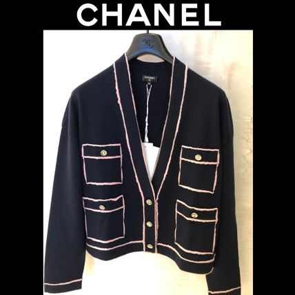 CHANEL Casual Style Cashmere Long Sleeves Plain Party Style