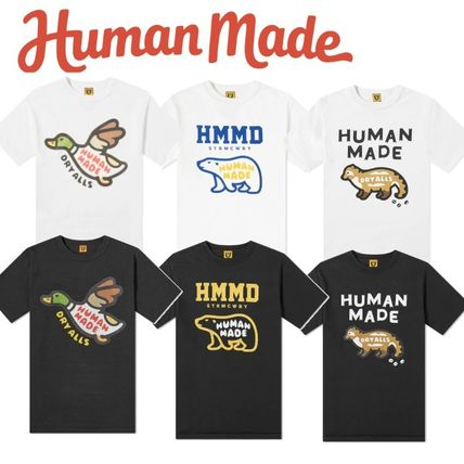 HUMAN MADE Crew Neck Crew Neck Pullovers Street Style Cotton Short Sleeves Logo