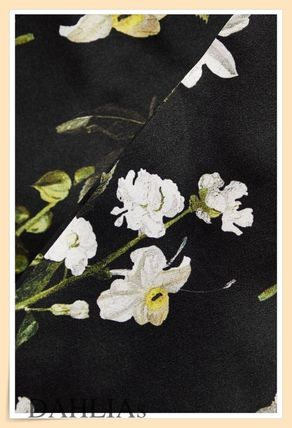 Flower Patterns Flared Cropped Plain Medium Party Style