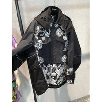 VALENTINO Technical Cotton Pea Coat With Dark Blooming Print