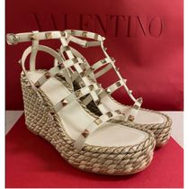 VALENTINO Open Toe Platform Casual Style Studded Leather Party Style