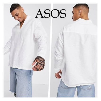 ASOS Shirts Asos Design Relaxed Fit Overhead Linen Shirt In White
