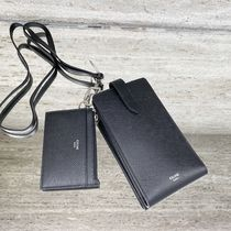 CELINE Phone And Card Holder In Grained And Smooth Calfskin