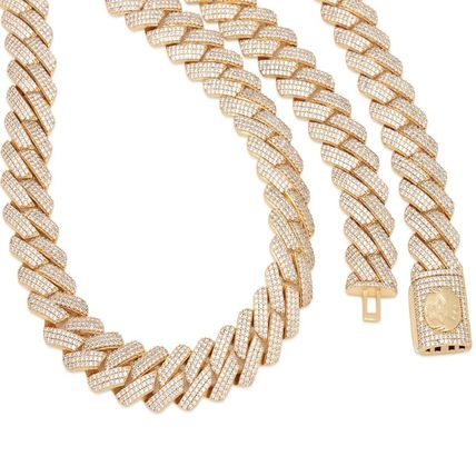 King Ice Necklaces & Chokers Unisex Street Style Chain Plain 18K Gold Logo 3