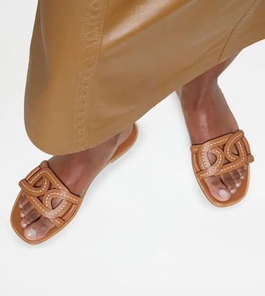 Open Toe Chain Plain Leather Logo Sandals