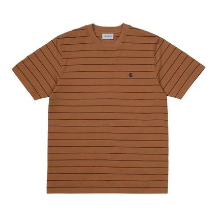 Stripes Unisex Street Style U-Neck Cotton Short Sleeves Logo
