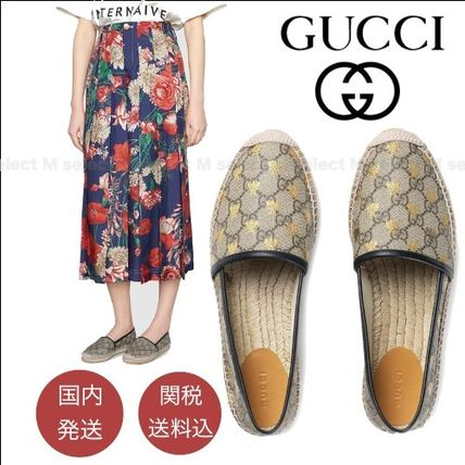 GUCCI Monogram Platform Round Toe Casual Style Street Style