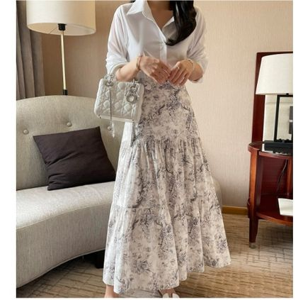 Flared Skirts Flower Patterns Casual Style Maxi Cotton Long