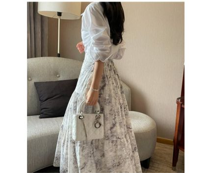 RONIEL Maxi Flared Skirts Flower Patterns Casual Style Maxi Cotton Long 3