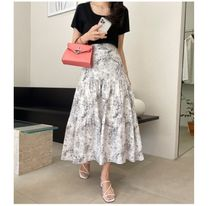 RONIEL Maxi Flared Skirts Flower Patterns Casual Style Maxi Cotton Long 5