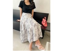 RONIEL Maxi Flared Skirts Flower Patterns Casual Style Maxi Cotton Long 6