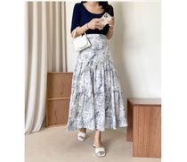 RONIEL Maxi Flared Skirts Flower Patterns Casual Style Maxi Cotton Long 10