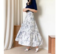 RONIEL Maxi Flared Skirts Flower Patterns Casual Style Maxi Cotton Long 11