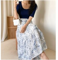 RONIEL Maxi Flared Skirts Flower Patterns Casual Style Maxi Cotton Long 12