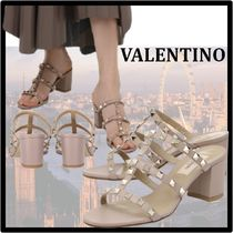 VALENTINO Casual Style Street Style Leather Logo Sandals