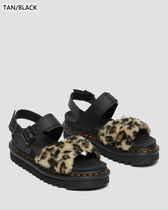 Dr Martens VOSS Open Toe Round Toe Casual Style Faux Fur Blended Fabrics