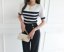 gumzzi Cable Knit Stripes Casual Style Street Style Short Sleeves
