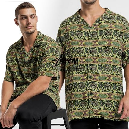 STUSSY Shirts Button-down Paisley Street Style Cotton Short Sleeves Logo