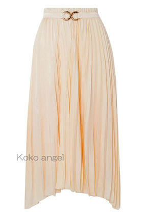 Casual Style Pleated Skirts Plain Office Style Skirts