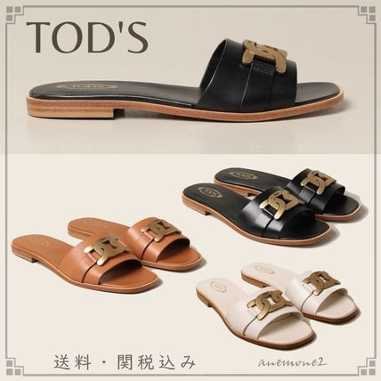 Plain Leather Logo Sandals