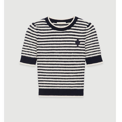 Crew Neck Short Stripes Casual Style Cotton Short Sleeves