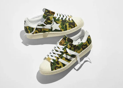 Stripes Camouflage Unisex Street Style Logo Sneakers