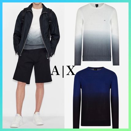 A/X Armani Exchange Sweaters Crew Neck Pullovers Silk Street Style Bi-color Long Sleeves