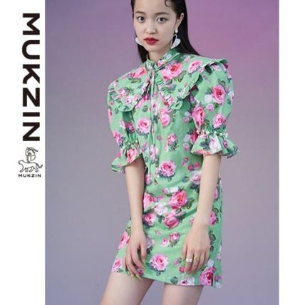 Short Flower Patterns Casual Style Tight Short Sleeves