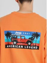 JEEP More T-Shirts Pullovers Unisex Studded Street Style U-Neck Plain Cotton 11