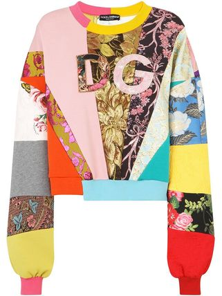 Dolce & Gabbana Patchwork Jersey Sweatshirt With Dg Embroidery